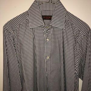 Men's B/W Etro Houndstooth Button Front Shirt.15.5